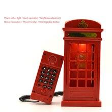 Vintage con cable teléfono cabina USB carga LED lámpara de noche Sensor táctil mesa escritorio fijo, brillo ajustable
