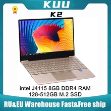 KUU K2 For Intel Celeron J4115 14.1-inch IPS Screen All Metal Shell Office Notebook 8GB RAM 256GB/512GB SSD with type C laptop