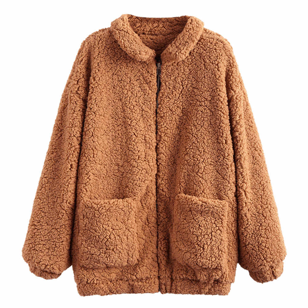 free delivery shop the sale of shoes ZAFUL Slip Pockets Faux Fur Teddy Coat Women Fluffy Wide Waisted ...