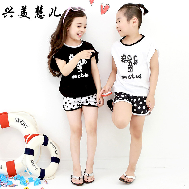 2018 New Style Hot Sales Two-piece Swimsuits Hipster Sweet Cute Black And White Dotted Boxer Girls KID'S Swimwear