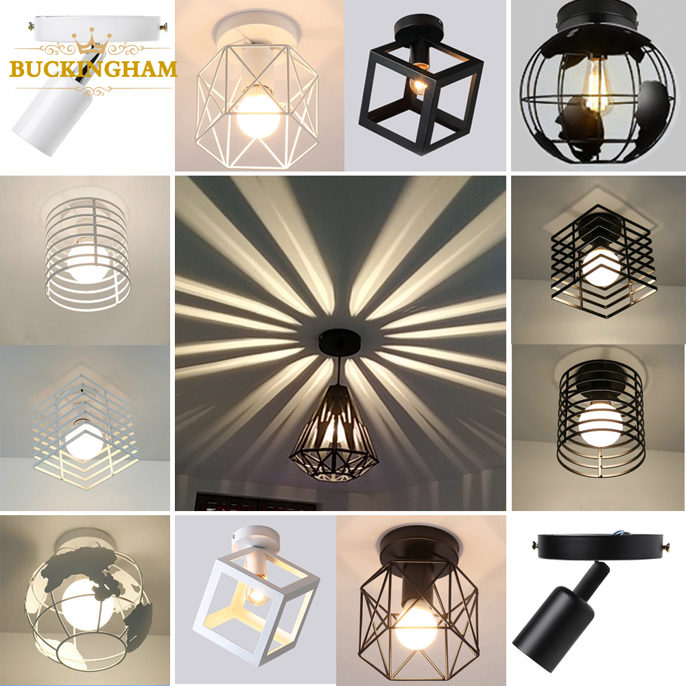 Vintage Ceiling light Modern Nordic Retro Iron lamp Decor For Living Room Bar Black and White Loft E27 Home Lights Cage Fixture|Ceiling Lights| |  - title=