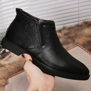 Image 5 - עור אמיתי גברים חורף מגפי קרסול מגפי אופנה הנעלה אתחול נעלי גברים מזדמנים גבוה למעלה גברים נעלי zapatos דה hombre