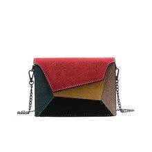 جديد الموضة جلدية حقائب كروسبودي للنساء ماتي المرقعة الإناث سلسلة حزام حقيبة كتف سيدة صغيرة متقاطعة رفرف حقيبة