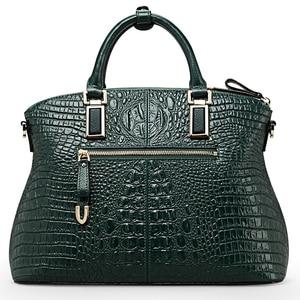 Image 3 - Qiwang 정통 여성 악어 가방 100% 정품 가죽 여성 핸드백 핫 판매 토트 여성 가방 대형 브랜드 가방 럭셔리