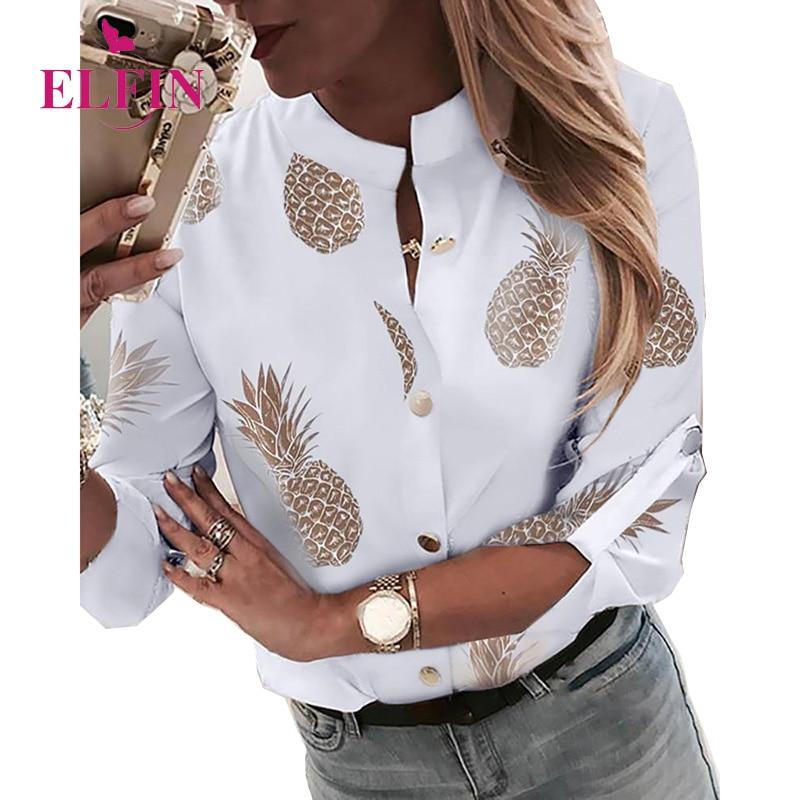 2019 Fall Print Pineapple Long Sleeve Casual Stand Collar Bohemian Women   Blouse     Shirt   SJ3796R