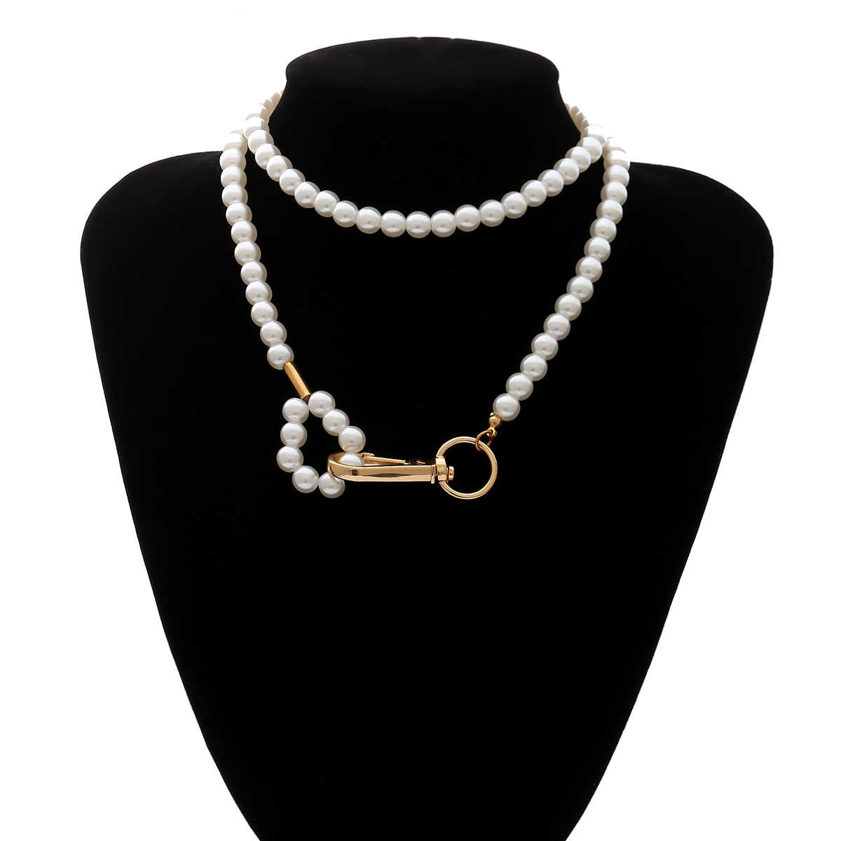 เกาหลี Gothic Baroque Pearl ล็อคสร้อยคอสร้อยคอผู้หญิงงานแต่งงาน Punk GOLD Key Lasso จี้ Choker สร้อยคอเครื่องประดับคู่