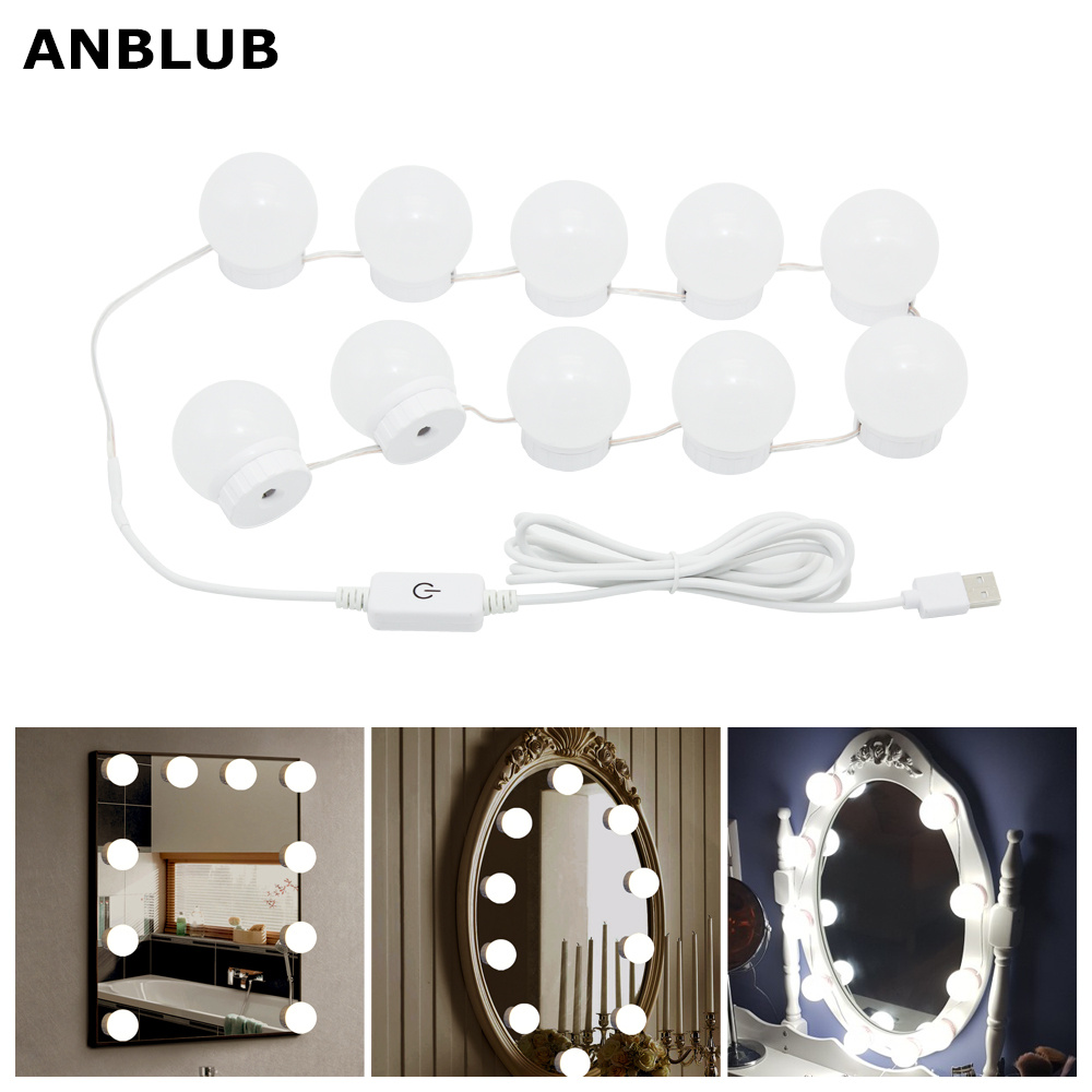 ANBLUB LED Makeup Mirror Light Bulb Hollywood Vanity Lights Stepless Dimmable 5V USB Wall Lamp Nature White For Dressing Table