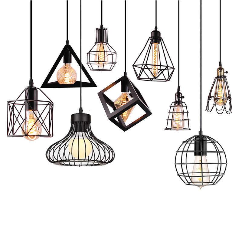 подвесной светильник винтажные подвесные светильники Железный Лофт в стиле минимализма клетка Пирамида подвеска лампа Современная промышленная металлическая Подвесная лампа салон E27 светодиодный настольн