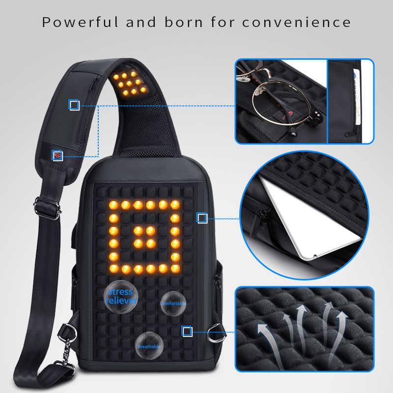 Fenruien Umhängetaschen für Männer USB Lade Multifunktions Sling Tasche Wasserdichte Brust Tasche Pack Kurze Reise Schulter Tasche Männlichen heißer