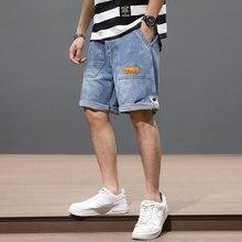 Summer Fashion Designer Men Jeans Big Pocket Straight Fit Blue Color Denim Shorts Hombre Streetwear Hip Hop Short