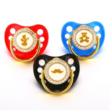 Golden Embossed Luxury Bling Baby Dummy Soothie Pacifier Newborn Infant Silicone Orthodontic Nipple Sleeping Soother