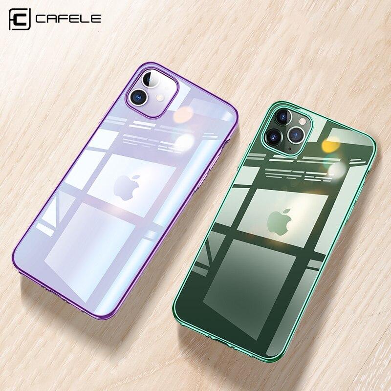 Cafele mais novo chapeamento caso para iphone 11 pro max tpu macio ultra fino misturado silicone transparente brilhante caso para iphone 11 pro