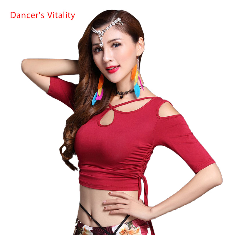 2018 Adult Sexy Mesh Belly Dance Tops Shirt Costumes For Women Bellydance Indian Dancing Clothes Dancer Wear