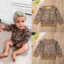 Pudcoco/осенние леопардовые топы для маленьких девочек; футболка; пуловеры; одежда