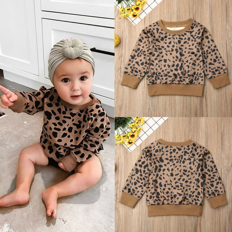 Pudcoco Autumn Toddler Baby Girls Kid Leopard Tops T-Shirt   Pullovers Clothes