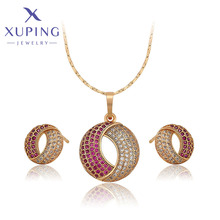 Xuping Jewelry New Arrival Round Shaped Gold Plated Jewelry Set Women Gift Party Gift 60002