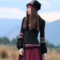 Japanese style Mori girls gothic vintage black turtleneck lantern sleeve pullovers autumn winter spring ethnic boho shirt AF540