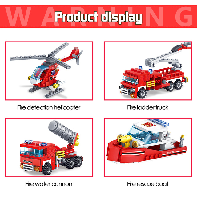348pcs Fire Station Car Building Blocks Compatible  City Firefighter Trucks Bricks with Figures Toys For Children