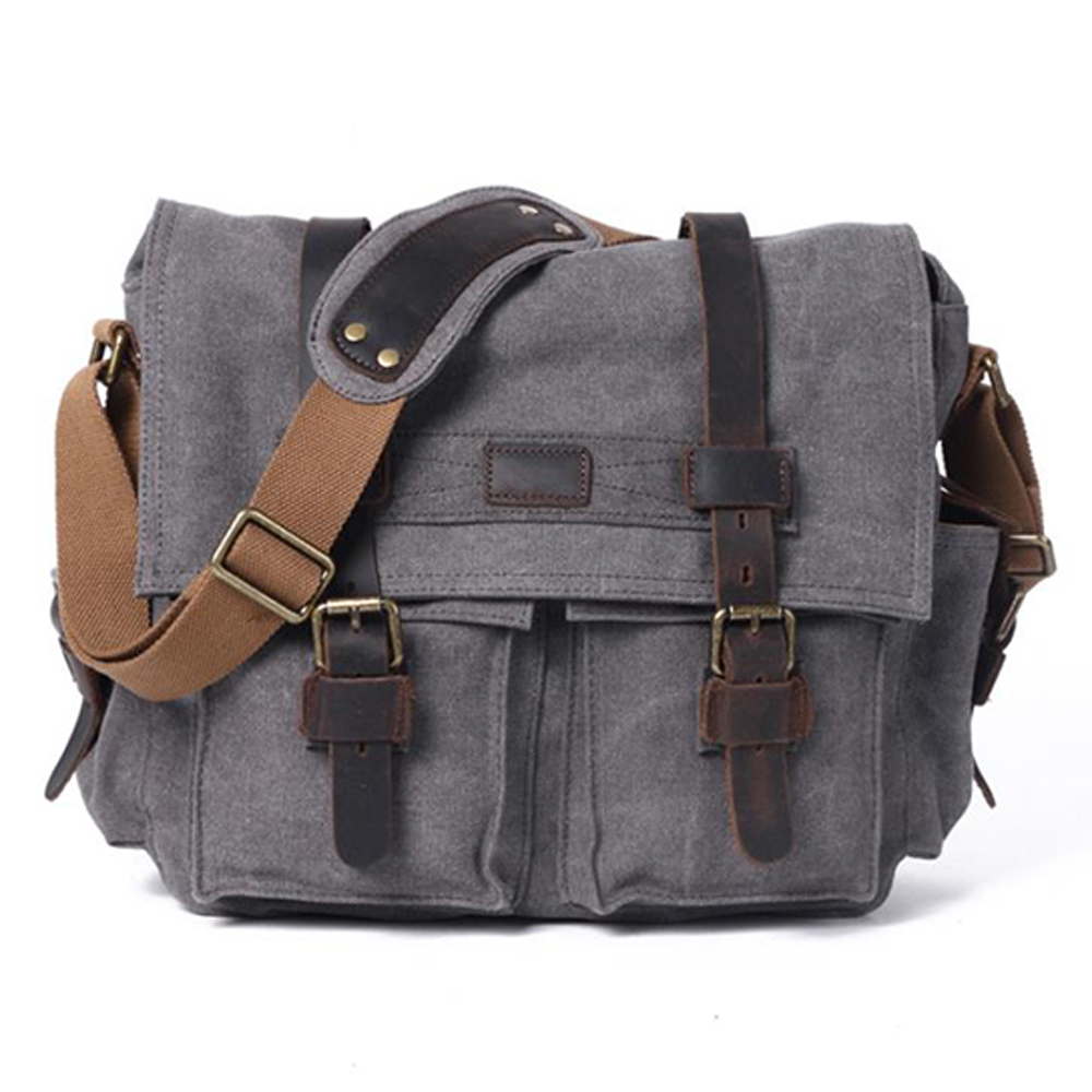 ICozzier Shoulder Bag, Men's Messenger Bags, 13 Inches Vintage Military Canvas Laptop Bag For Work And School, Multiple Pocket