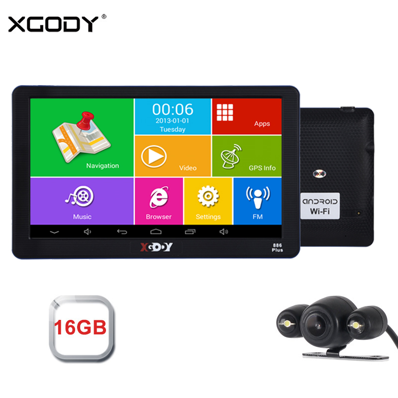 Xgody 7 Inch Android Car Gps Navigation 512M+16GB Truck Gps Navigator Wifi Touch Screen Sat Nav Free Map Spain Navitel Europe
