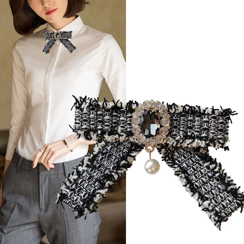 England Women Chic Bow Ties Vintage Black Bowknot Ribbon Pin Necktie Lady Fashion Rhinestone Peal Collar Clothing Accessories