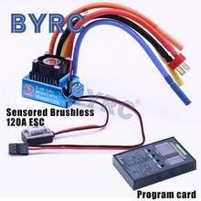 Fogo phoenix rc 120a sensored esc sem escova & led programa cartão combinação conjunto para 1/10 1/12 buggy touring carro