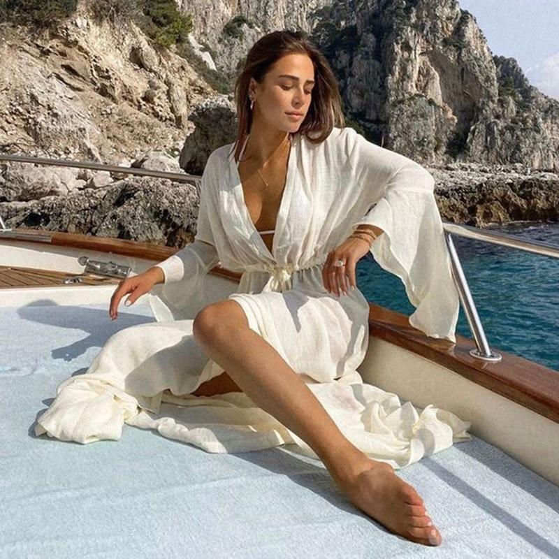 Crochet White Knitted Beach Cover up dress Tunic Long Pareos Bikinis Cover ups Swim Cover up Robe Plage Beachwear 10