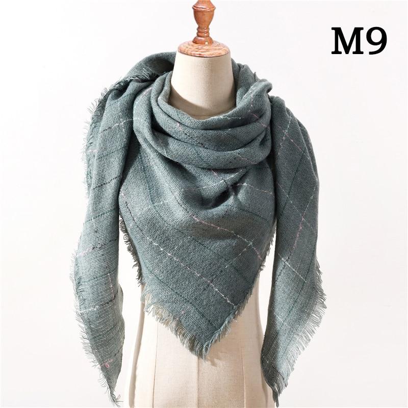 Женский зимний шарф в ретро стиле, кашемировые вязаные пашмины шали, женские мягкие треугольные шарфы, бандана, теплое одеяло, новинка - Цвет: M9