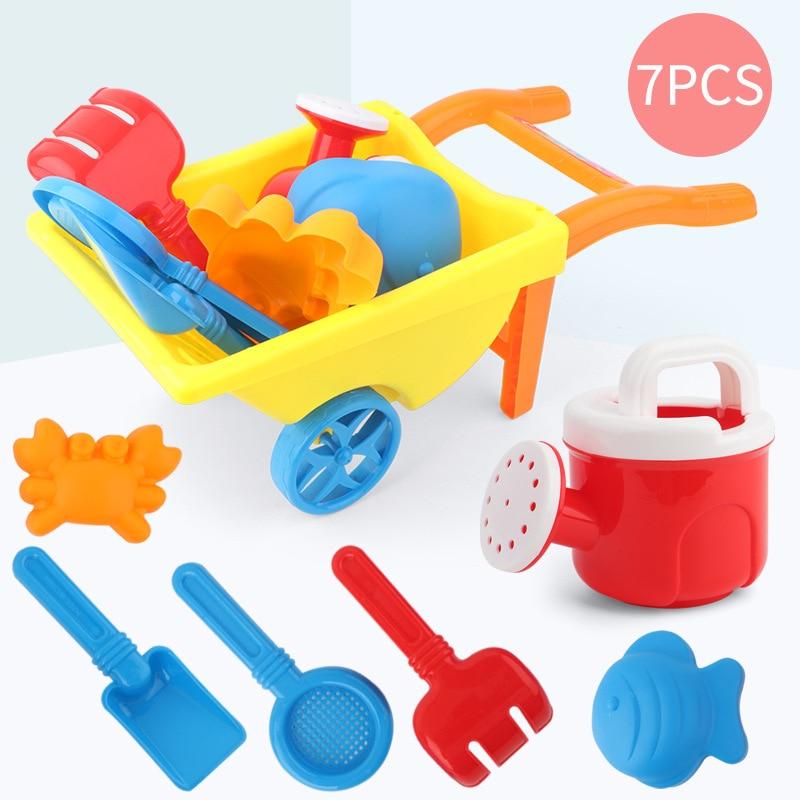7Pcs/Set Kids Beach Toy Trolley Summer Beach Play Sand Kits Kettle Shovel Rake Mold Children Outdoor Water Fun Toys Random Color