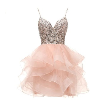 ANGELSBRIDEP Spaghetti Beaded Bodice Short Homecoming Dress Tulle Prom Dress Sequins Party Gown 8 Grade Graduation Dress HOT 1
