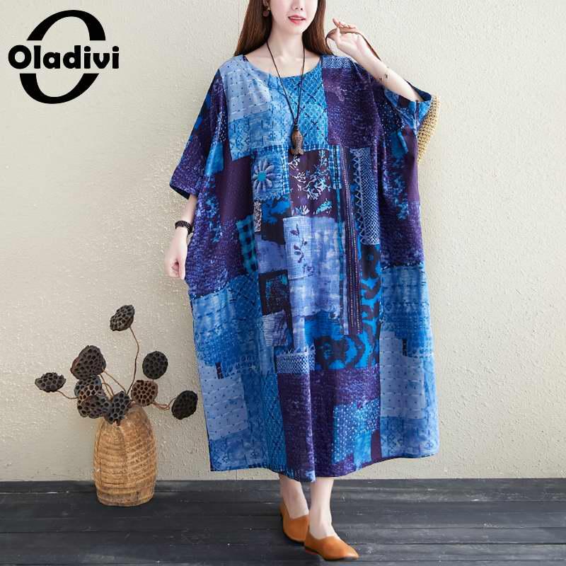 Oladivi Oversized Plus Size Women Fashion Print Boho Dress Summer Cotton Linen Maxi Long Dresses Big Tunic Vestidio 6XL 8XL 10XL