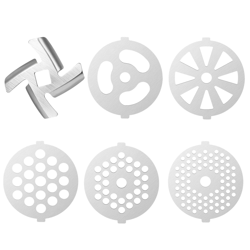 6 Pcs Stainless Steel Meat Grinder Plate Discs Grinding Blades For Stand Mixer And Meat Grinder Attachment