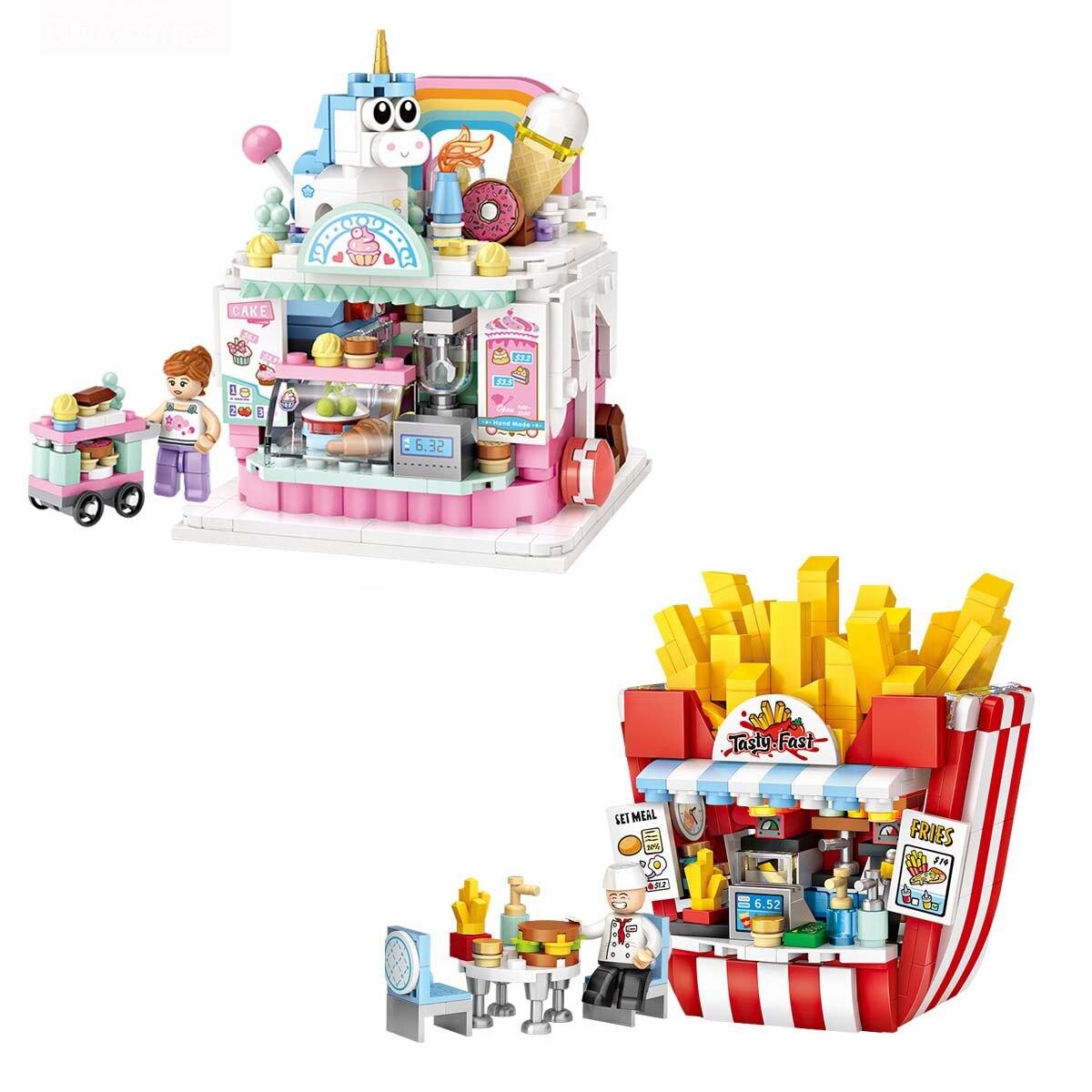 Loz мини строительные блоки, собранные уличные игрушки, китайский уличный торт, фри, игрушки для детей, подарки