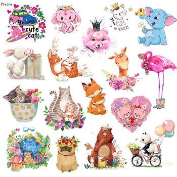 Prajna kot kreskówkowy niedźwiedź słoń zwierzęta plastry transferu ciepła na odzież naklejki DIY śliczne żelazko na transfery dla dzieci T-shirt tanie i dobre opinie CN (pochodzenie) As Picture HANDMADE Przyjazne dla środowiska PRINTED Do przyprasowania iron on transfers unicorn owls cat dog flamingo bear heart panda balloon elephant