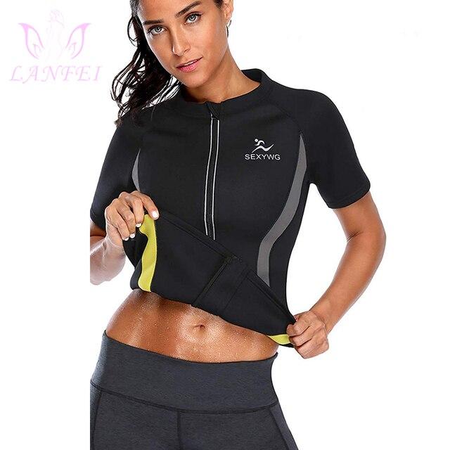 LANFEI Hot Neoprene Sweat Body Shaper Running T shirt Womens Fitness Weight Loss Top Workout Waist Trainer Slimming Sport Shirts