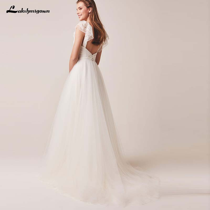 Vintage Modest Wedding Dresses With Short Sleeves Simple Bohemian