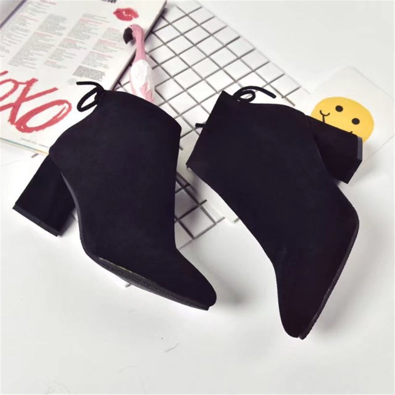 Pointed Toe High Heels Women Boots Basic Shoes Autumn And Winter Casual Female Ankle Boots Single Fashion snow boots 4