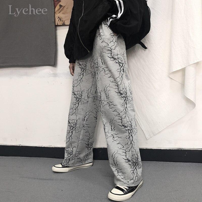 Lychee Harajuku Lightning Women Bottom Pants Autumn Straight Leg Lady Bottoms Pants Elastic Waist Loose Casual Female Trousers