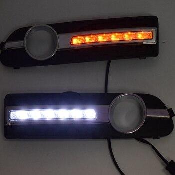 LED DRL Daytime Running Light Fog Lamp 12V Car Running Lights for Volvo S80 2009 - 2013(Yellow + White)