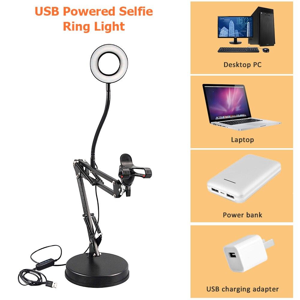 Dimmable 17cm lumière annulaire chaud lampe froide avec bras Long bureau tablette support pour téléphone vidéo photographie en direct Selfie support de lumière