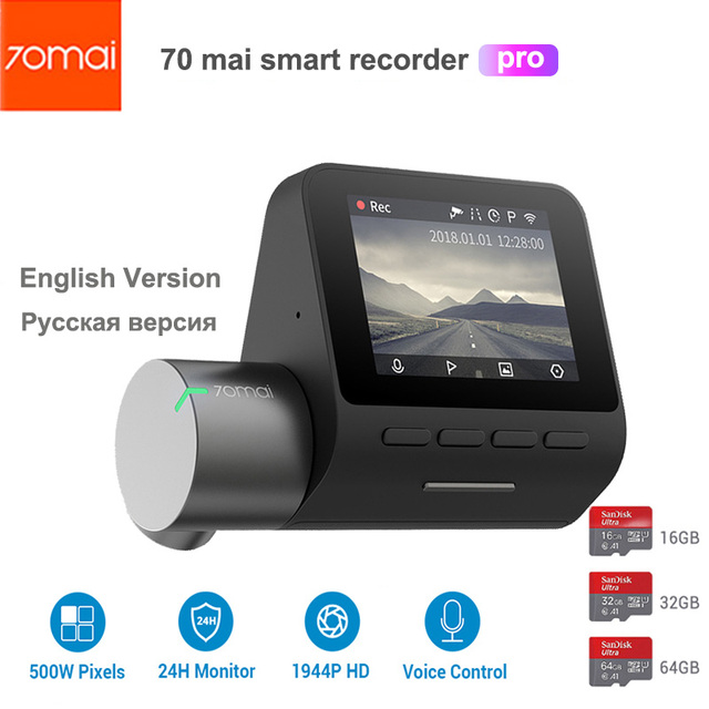70mai 대시 캠 프로 스마트 자동차 1944P HD 비디오 녹화 GPS ADAS 와이파이 기능 140 FOV 소니 카메라 영어 음성 제어