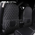 PU Leather Car Anti-Kick Mats Auto Seat Back Protector Cover Car Back Seat Organizer with Storage Pockets Interior Accessories