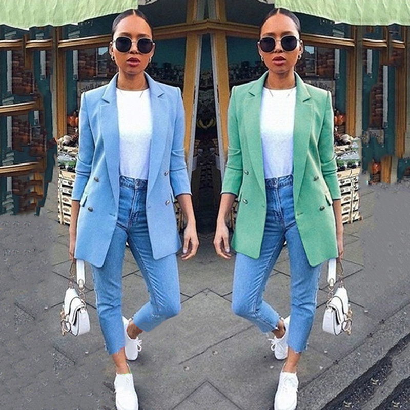 Fashion Solid Color Vintage Double Breasted Office Lady Blazer Women Blazers Pockets Jackets Long Sleeve Women Elegant Blazers