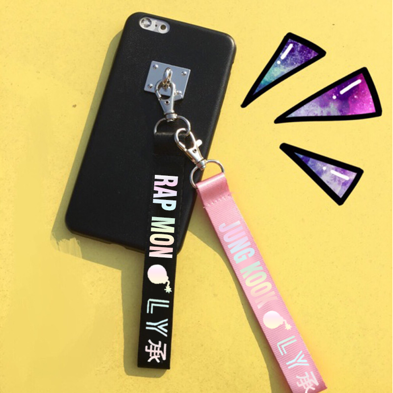 KPOP Bangtan Boys Keychain Laser Character Lanyard Love Yourself Key Chains Jung Kook V SUGA JIMIN JHOPE RM Keyring Accessories