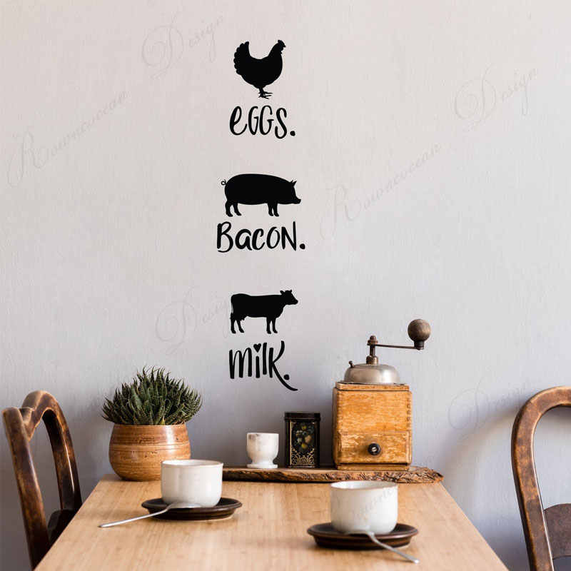 Farmhouse Style Kitchen Wall Decals With Chicken Pig And Cow Eggs Bacon Milk Wall Sticker Vinyl Home Decoration Mural 4370 Wall Stickers Aliexpress