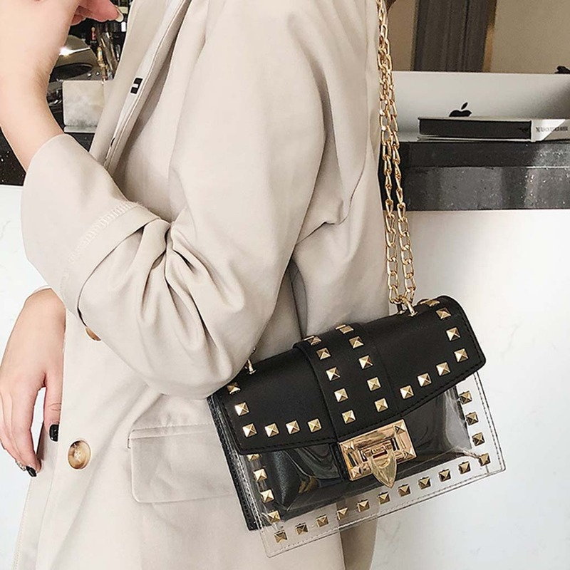 Fashion Revit Tranparent Women Shoulder Bags Designer Chain Handbags Luxury Pu Leather Crossbody Bag Small Flap Clear Pvc Purses in Top Handle Bags from Luggage Bags