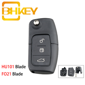 BHKEY for Ford Key Case HU101/FO21 Blade Flip Smart Car Key Shell For Ford Focus Mondeo 2 3 Fiesta Max Ka chave Cover