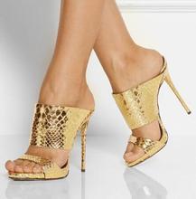 Dipsloot Woman Rose Gold Sliver Patent Leather Platform Sandals Summer Slim Snake Pattern Slip On High Heels Slippers Shoes