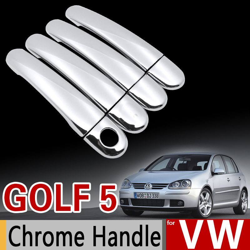 for <font><b>VW</b></font> <font><b>Golf</b></font> <font><b>5</b></font> MK5 Chrome Handle Cover Trim Set for Volkswagen <font><b>Golf</b></font> V Rabbit 1K 2004-2009 <font><b>GTI</b></font> Car <font><b>Accessories</b></font> Sticker Car Styling image