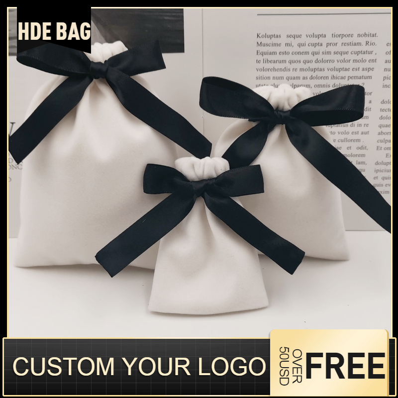 Velvet Jewelry Pouches WIth Bow Lipstick Cosmetic Necklace And Earring Packaging Drawstring Bag Birthday Wedding Gift Bags